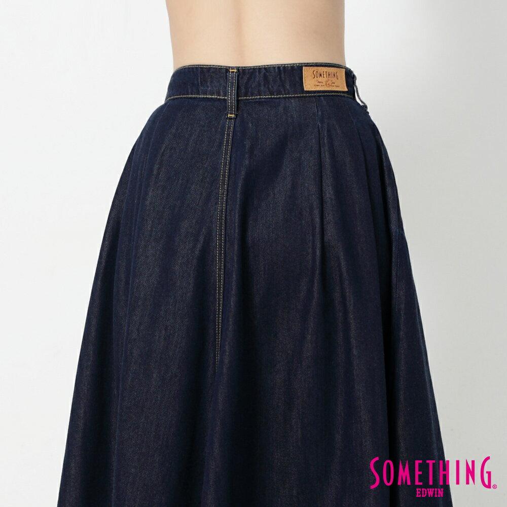 SOMETHING VIENUS 天絲Ⓡ混紡 牛仔長圓裙-女款 原藍色 7