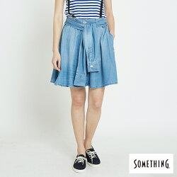 新品↘SOMETHING 造型綁袖 牛仔圓裙-女款 漂淺藍