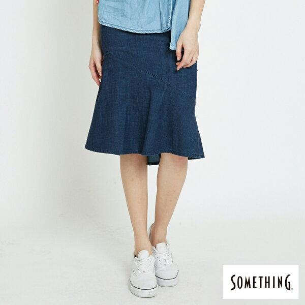【新品上市↘】SOMETHING優雅合身剪裁丹寧魚尾裙-女款原藍磨【5月會員消費滿3000元再賺15%點數】