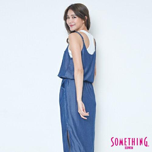 SOMETHING NEO FIT 天絲 細肩連身洋裝 -女款 原藍色 1