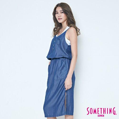 SOMETHING NEO FIT 天絲 細肩連身洋裝 -女款 原藍色 2