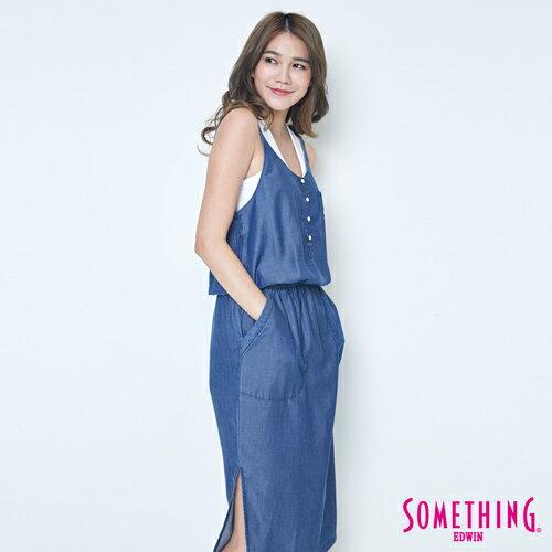 SOMETHING NEO FIT 天絲 細肩連身洋裝 -女款 原藍色 3
