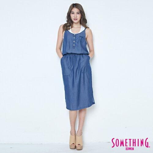SOMETHING NEO FIT 天絲 細肩連身洋裝 -女款 原藍色 4