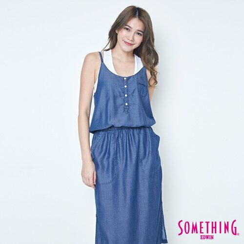 SOMETHING NEO FIT 天絲 細肩連身洋裝 -女款 原藍色 0