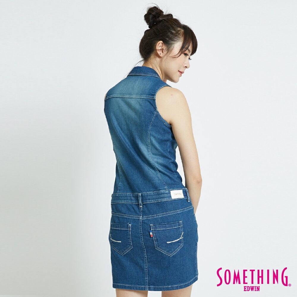 SOMETHING 基本修身削肩 連身牛仔短裙-女款 中古藍 1