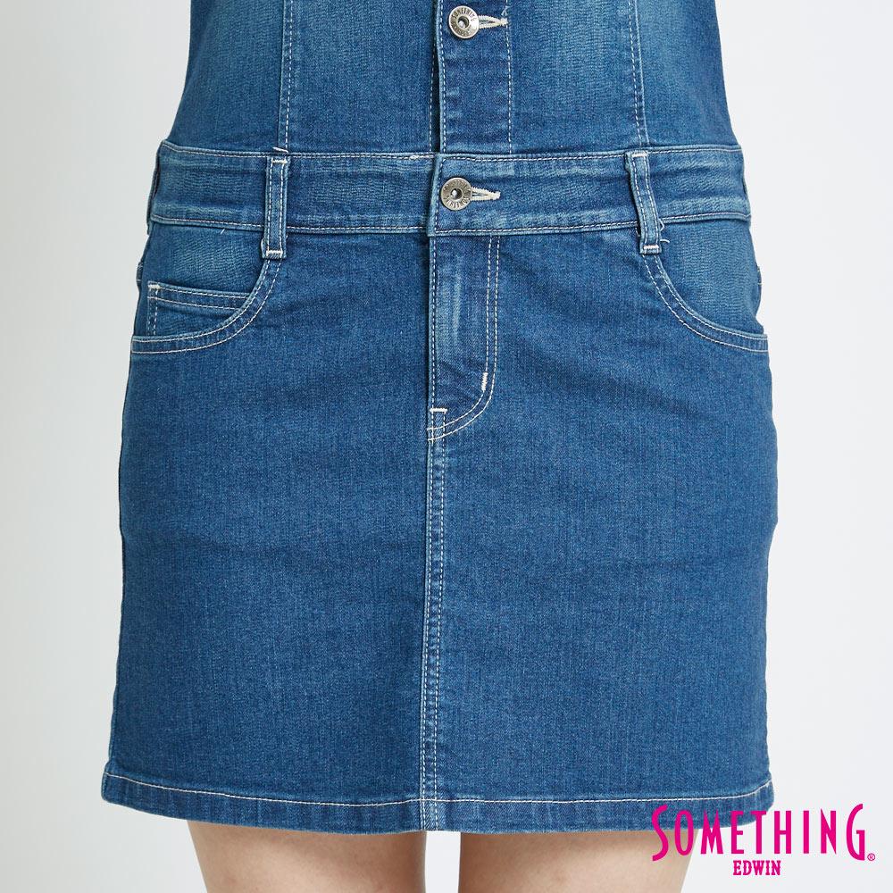 SOMETHING 基本修身削肩 連身牛仔短裙-女款 中古藍 5