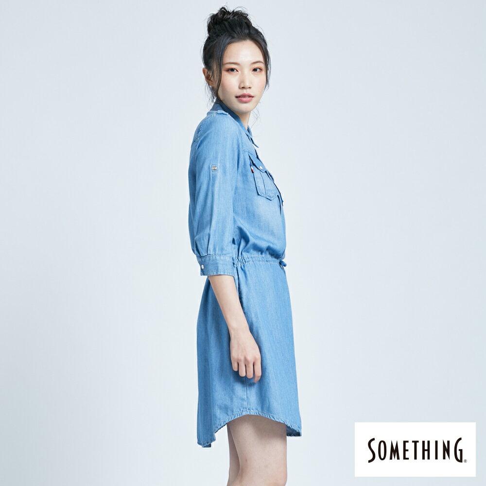 新品↘SOMETHING 休閒抽繩 牛仔連身裙-女款 漂淺藍 3