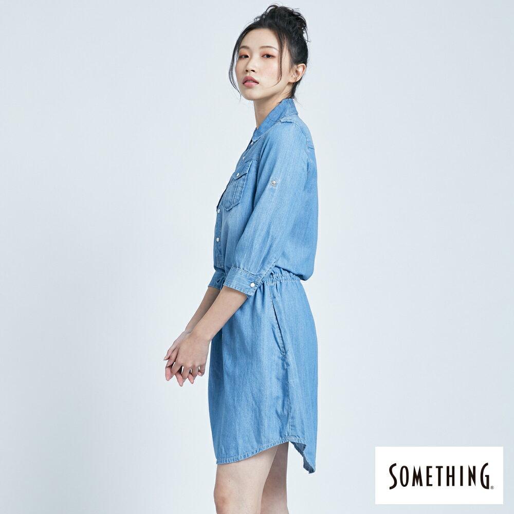 新品↘SOMETHING 休閒抽繩 牛仔連身裙-女款 漂淺藍 4