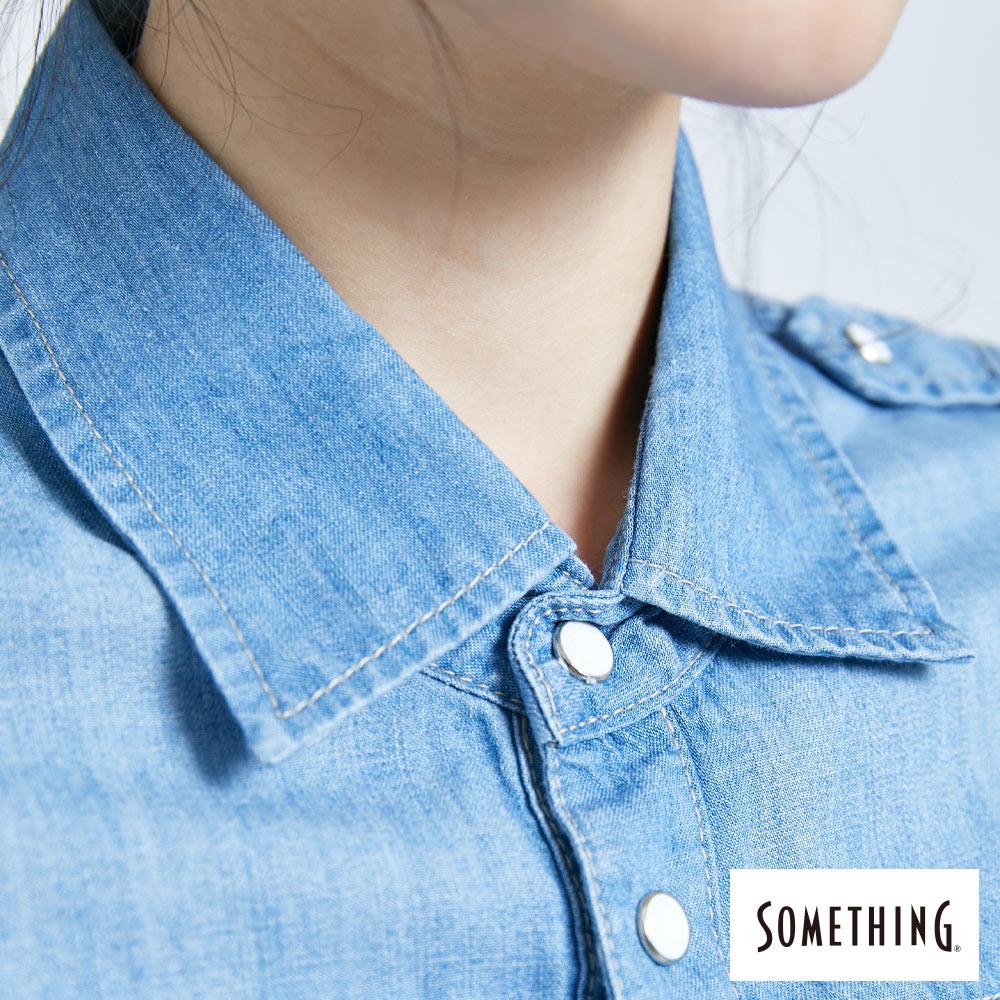 新品↘SOMETHING 休閒抽繩 牛仔連身裙-女款 漂淺藍 5