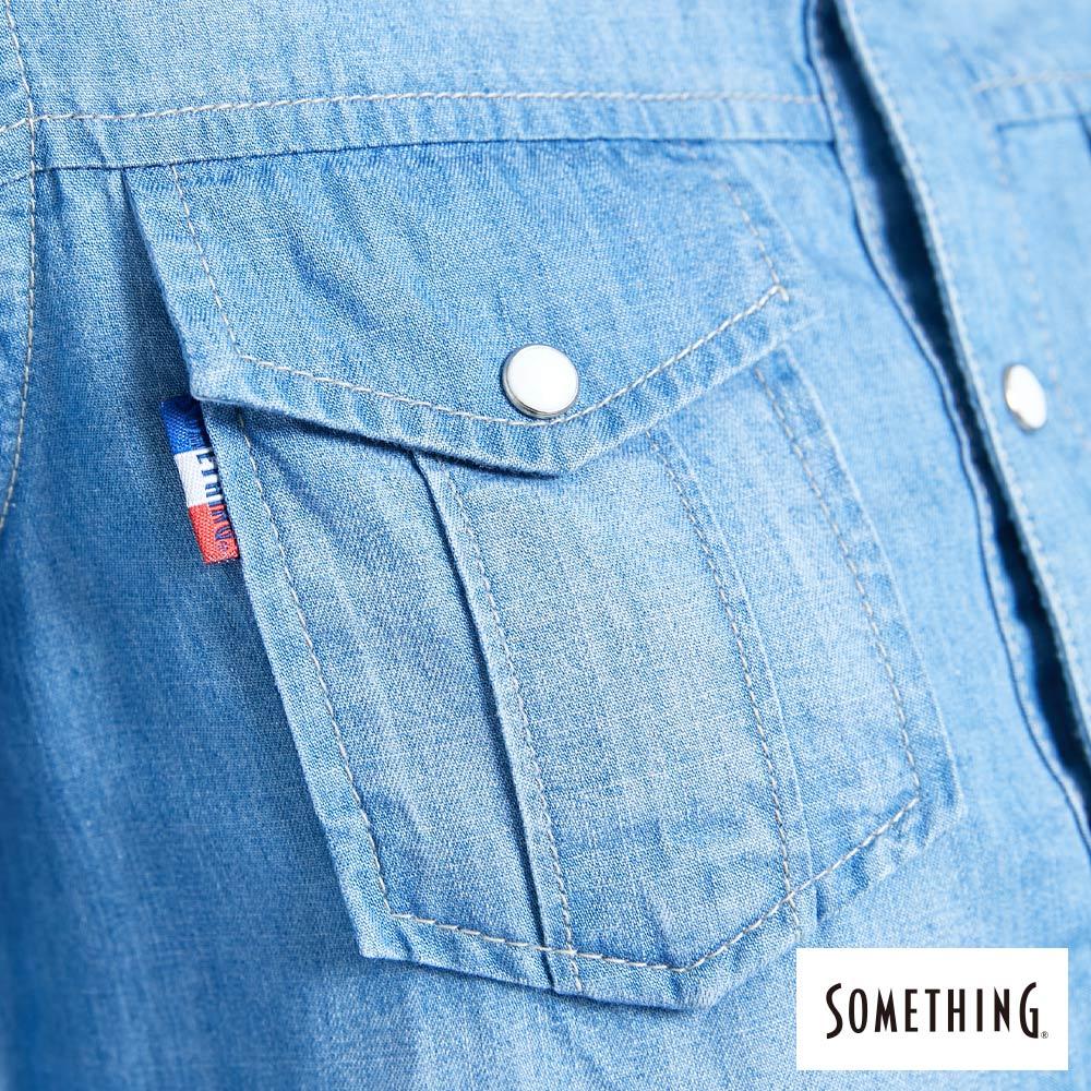 新品↘SOMETHING 休閒抽繩 牛仔連身裙-女款 漂淺藍 6