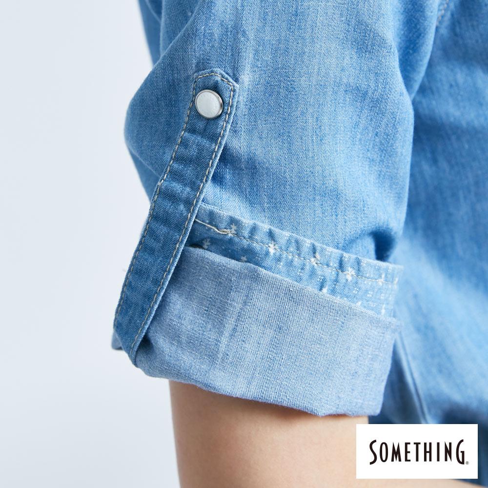 新品↘SOMETHING 休閒抽繩 牛仔連身裙-女款 漂淺藍 7