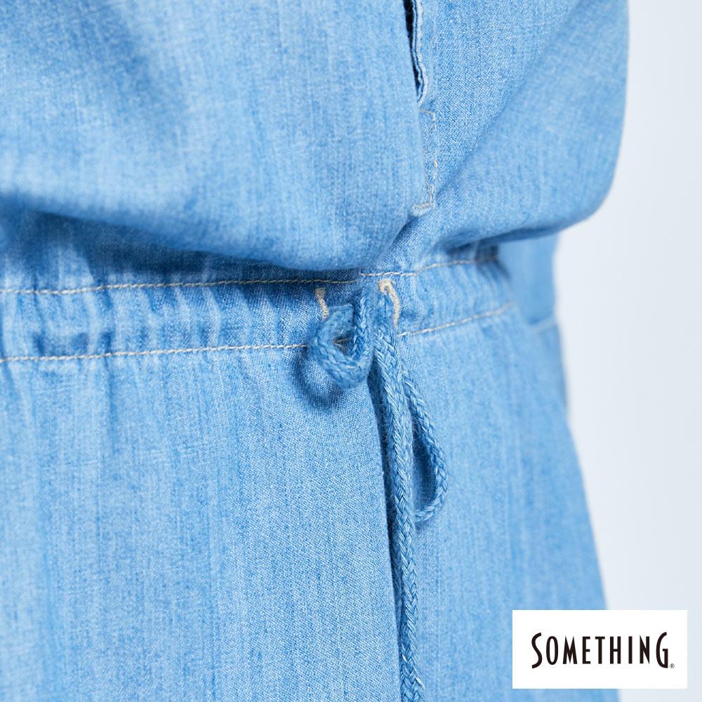 新品↘SOMETHING 休閒抽繩 牛仔連身裙-女款 漂淺藍 8