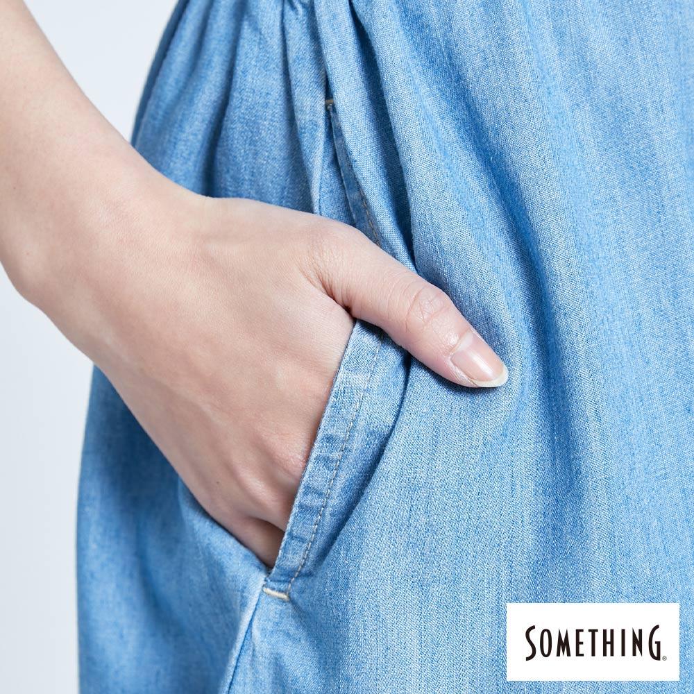 新品↘SOMETHING 休閒抽繩 牛仔連身裙-女款 漂淺藍 9