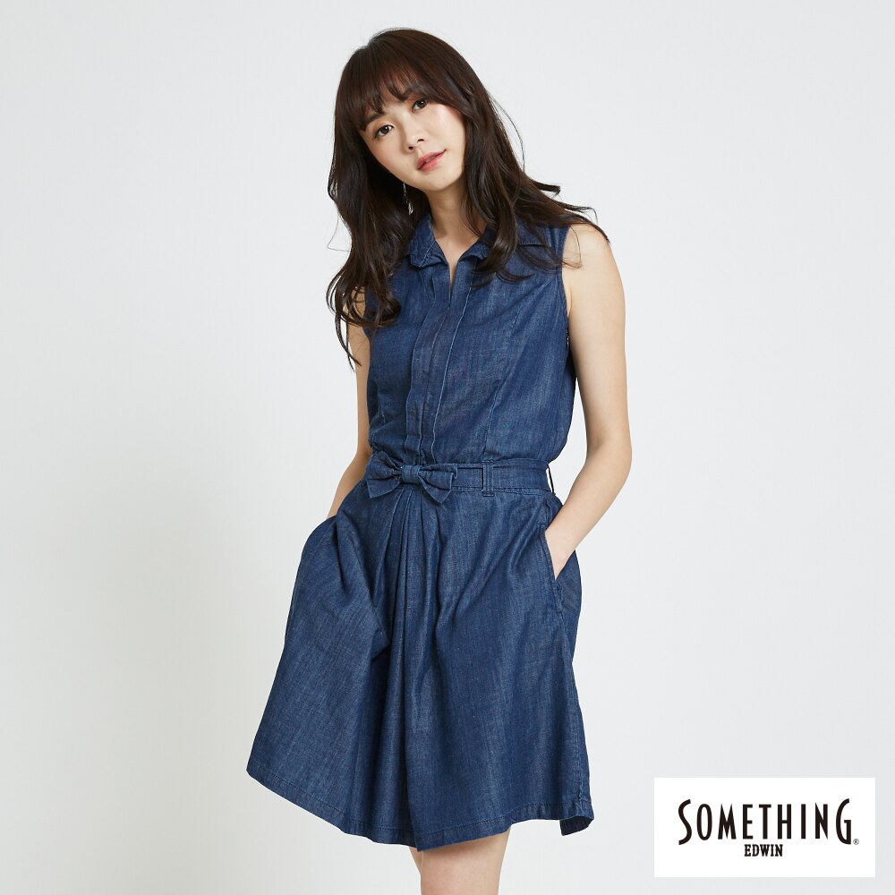 新品↘SOMETHING 氣質開襟 牛仔連身裙-女款 原藍色 0