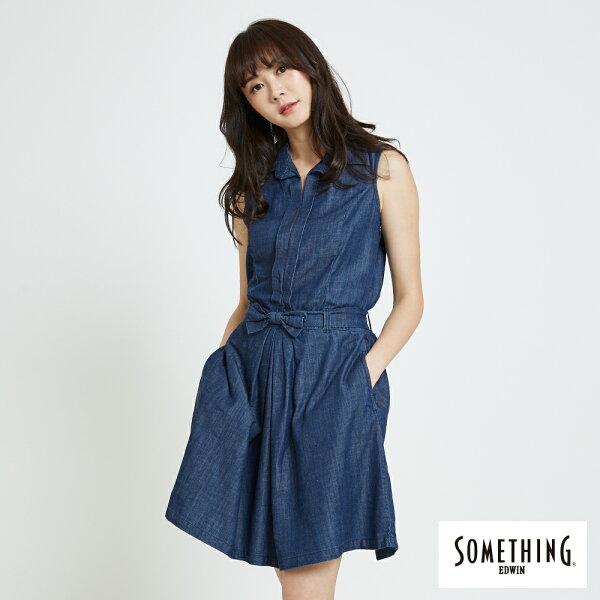 【新品上市↘】SOMETHING氣質開襟牛仔連身裙-女款原藍色【5月會員消費滿3000元再賺15%點數】