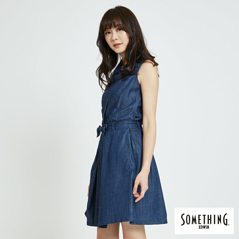 新品↘SOMETHING 氣質開襟 牛仔連身裙-女款 原藍色 2