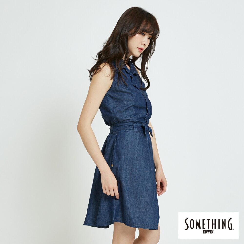 新品↘SOMETHING 氣質開襟 牛仔連身裙-女款 原藍色 3