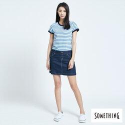 新品↘SOMETHING 異素材剪接 連身短裙-女款 漂淺藍