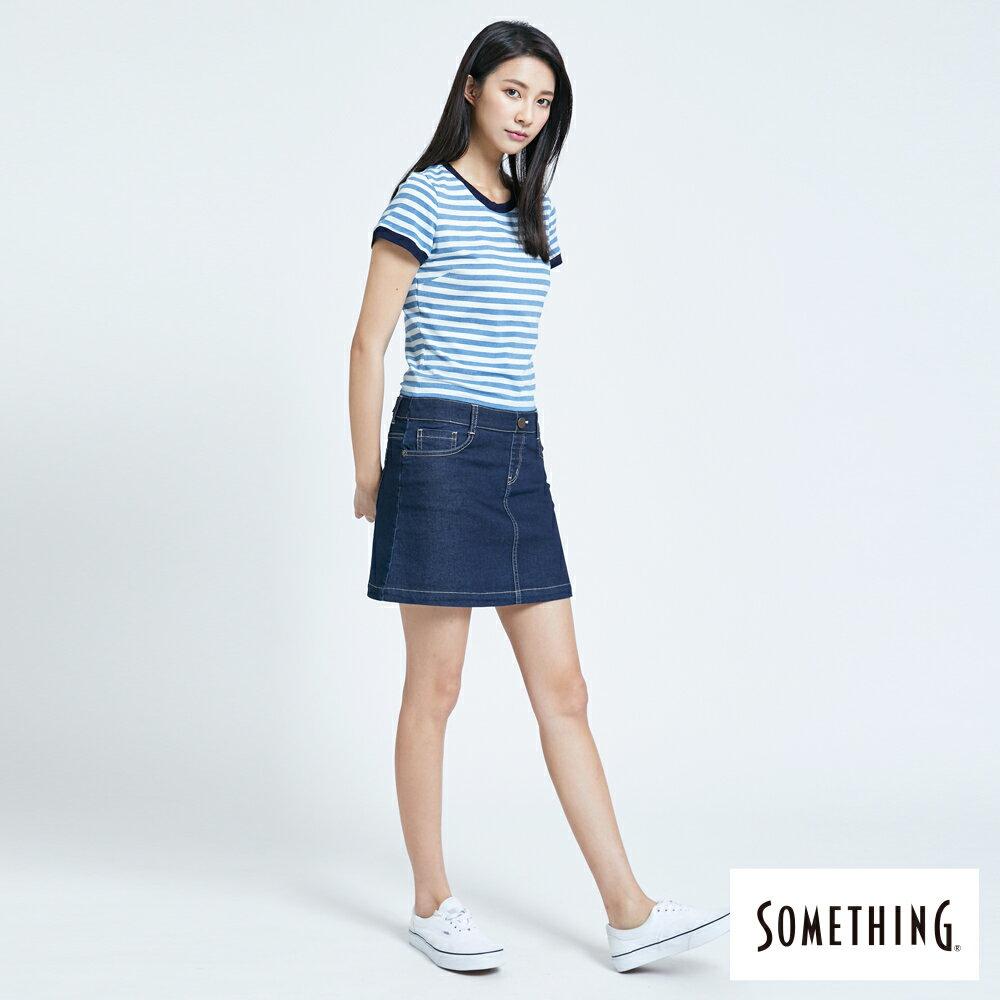 新品↘SOMETHING 異素材剪接 連身短裙-女款 漂淺藍 3