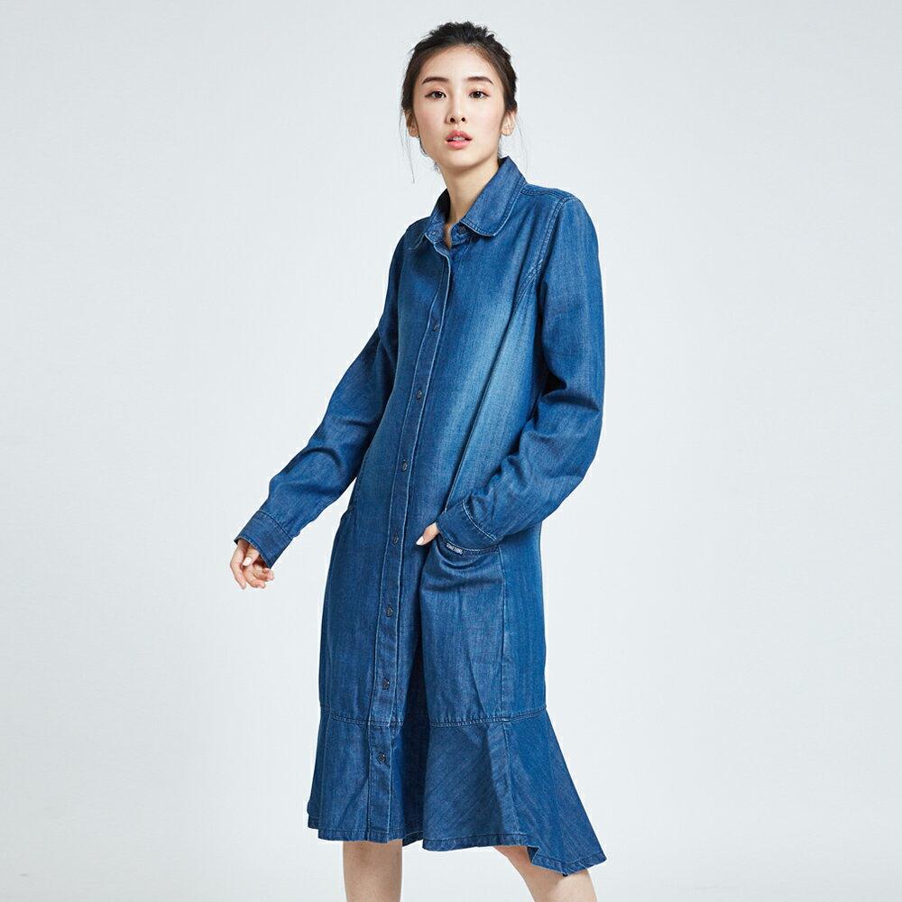 新品↘SOMETHING 襯衫式荷葉擺 牛仔洋裝-女款 拔洗藍 丹寧 目錄揭載 1