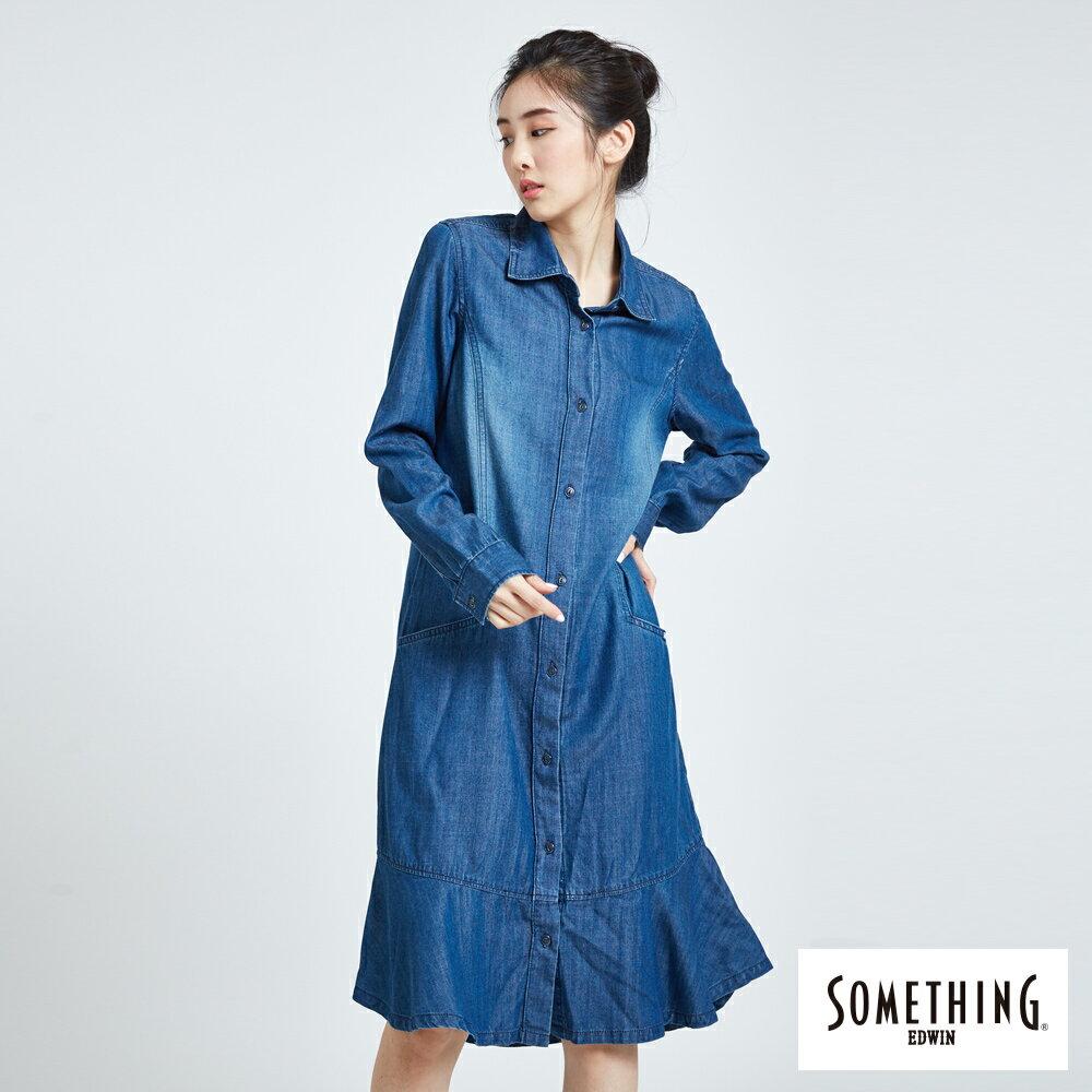 新品↘SOMETHING 襯衫式荷葉擺 牛仔洋裝-女款 拔洗藍 丹寧 目錄揭載 0