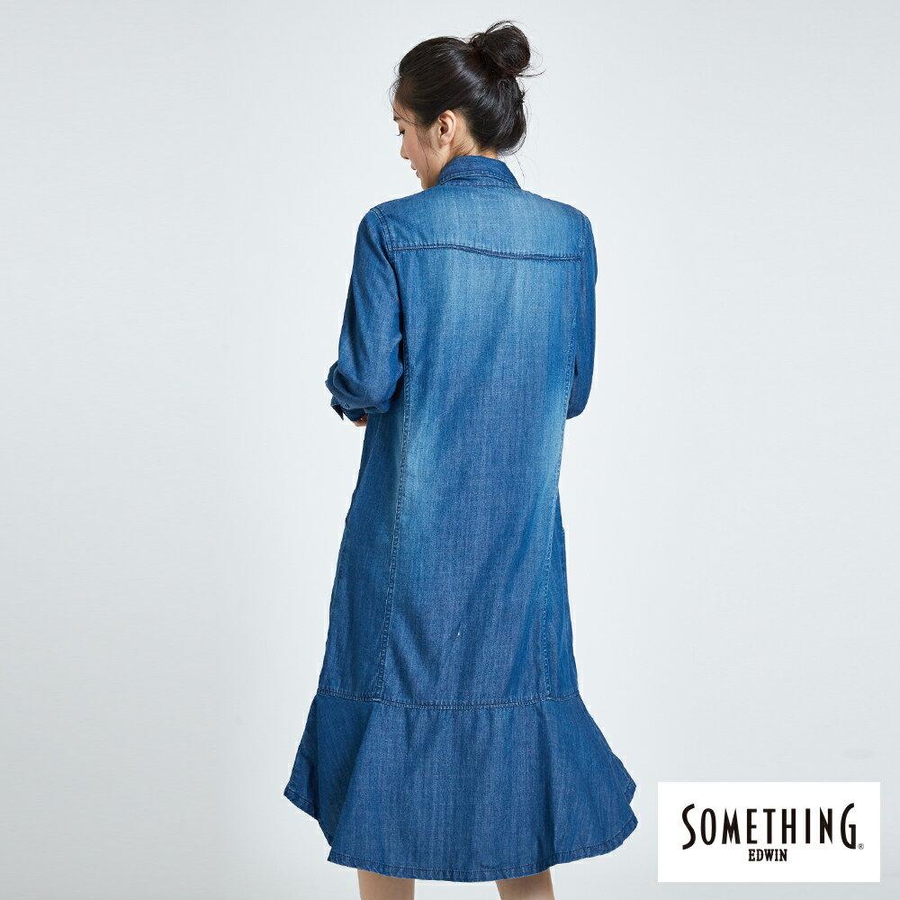 新品↘SOMETHING 襯衫式荷葉擺 牛仔洋裝-女款 拔洗藍 丹寧 目錄揭載 2