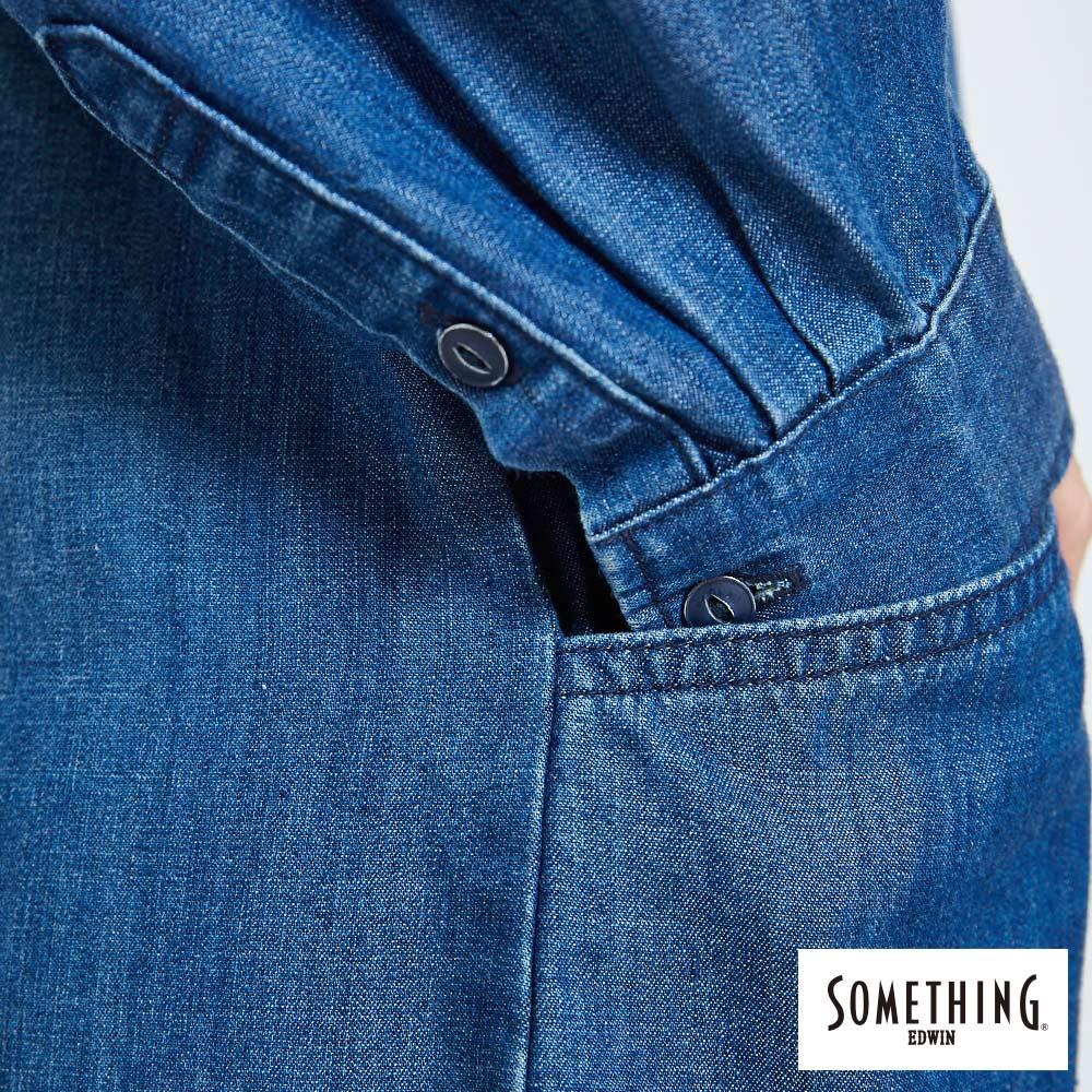 新品↘SOMETHING 襯衫式荷葉擺 牛仔洋裝-女款 拔洗藍 丹寧 目錄揭載 7