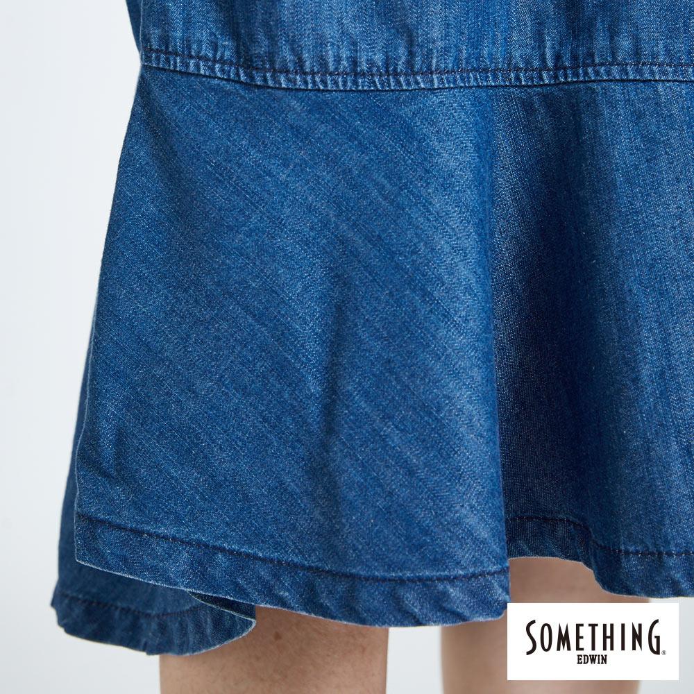 新品↘SOMETHING 襯衫式荷葉擺 牛仔洋裝-女款 拔洗藍 丹寧 目錄揭載 8