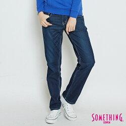 SOMETHING 舒適涼感小垮牛仔褲-女款 原藍磨 TAPERED