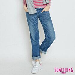 SOMETHING 舒適涼感小垮牛仔褲-女款 輕刷藍 TAPERED