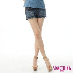 SOMETHING NEO FIT破損風 牛仔超短褲-女款 原藍磨 SHORTS