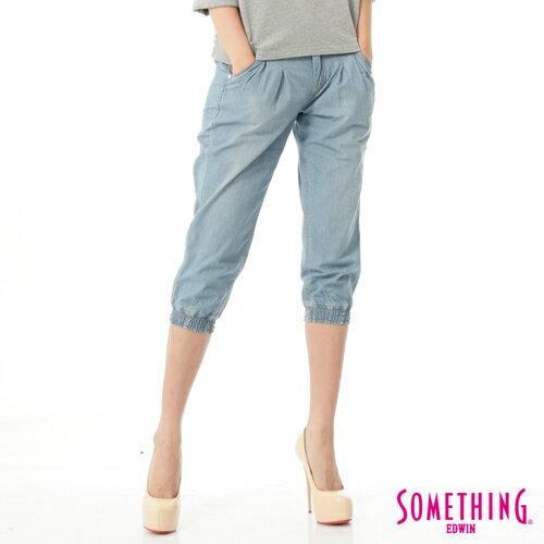 【1290元優惠↘】SOMETHING NEO FIT 縮口七分牛仔褲-女款 漂淺藍