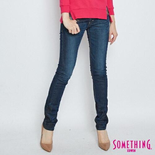 【2/14-2/15限定。丹寧單一價590↘】SOMETHING MEIDUSA雪晶印花 窄直筒牛仔褲-女款  中古藍
