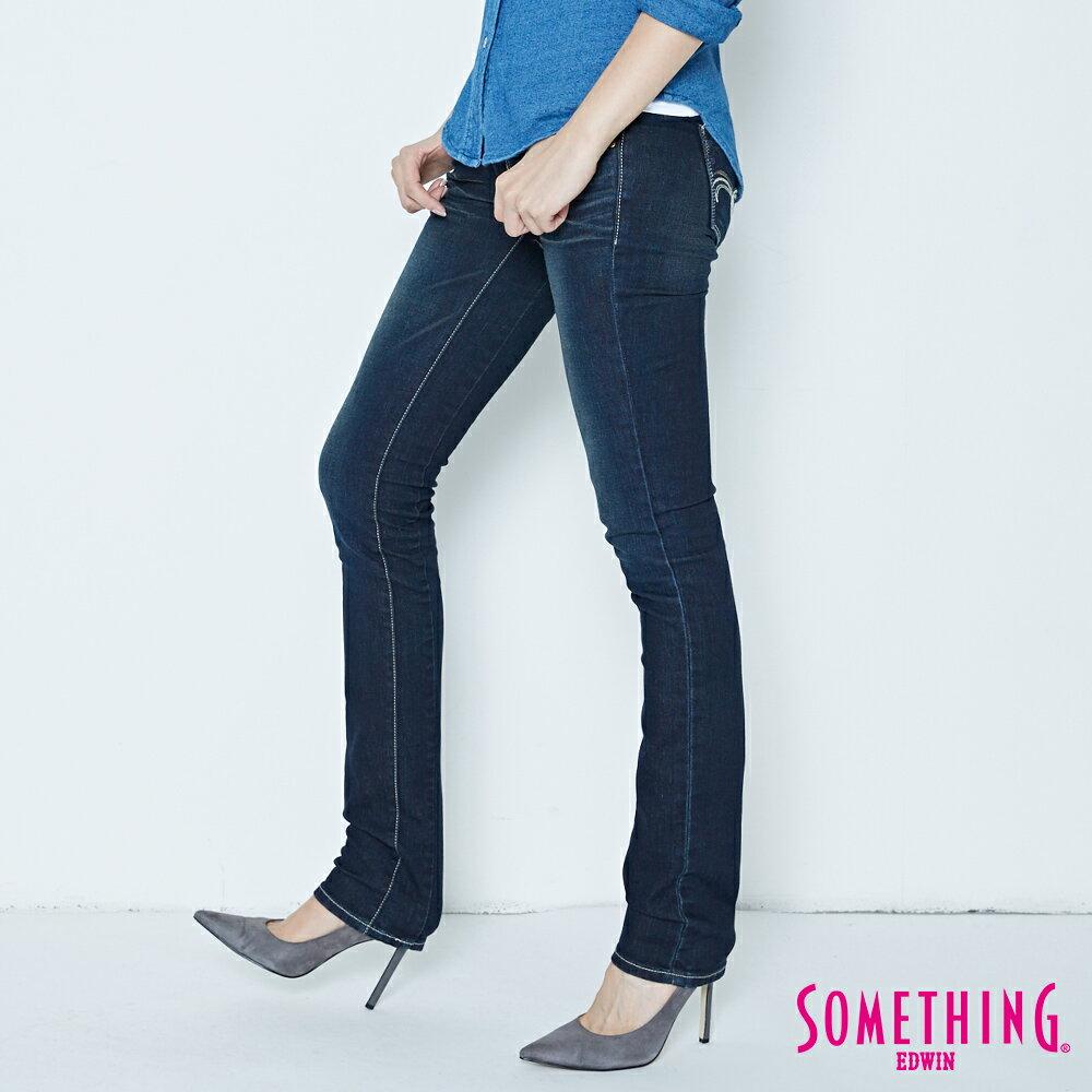 SOMETHING CELEB 亮片袋花 窄直筒牛仔褲-女款 原藍磨 SILM 2