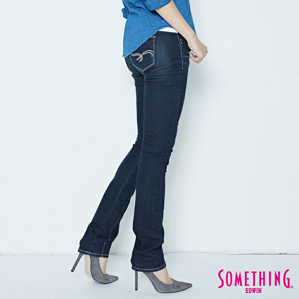 SOMETHING CELEB 亮片袋花 窄直筒牛仔褲-女款 原藍磨 SILM 3