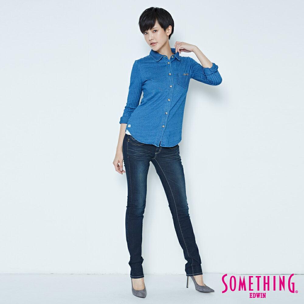 SOMETHING CELEB 亮片袋花 窄直筒牛仔褲-女款 原藍磨 SILM 4