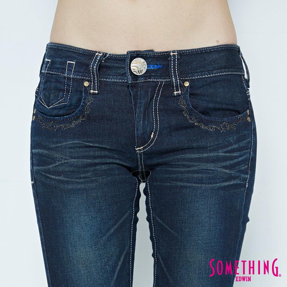 SOMETHING CELEB 亮片袋花 窄直筒牛仔褲-女款 原藍磨 SILM 5