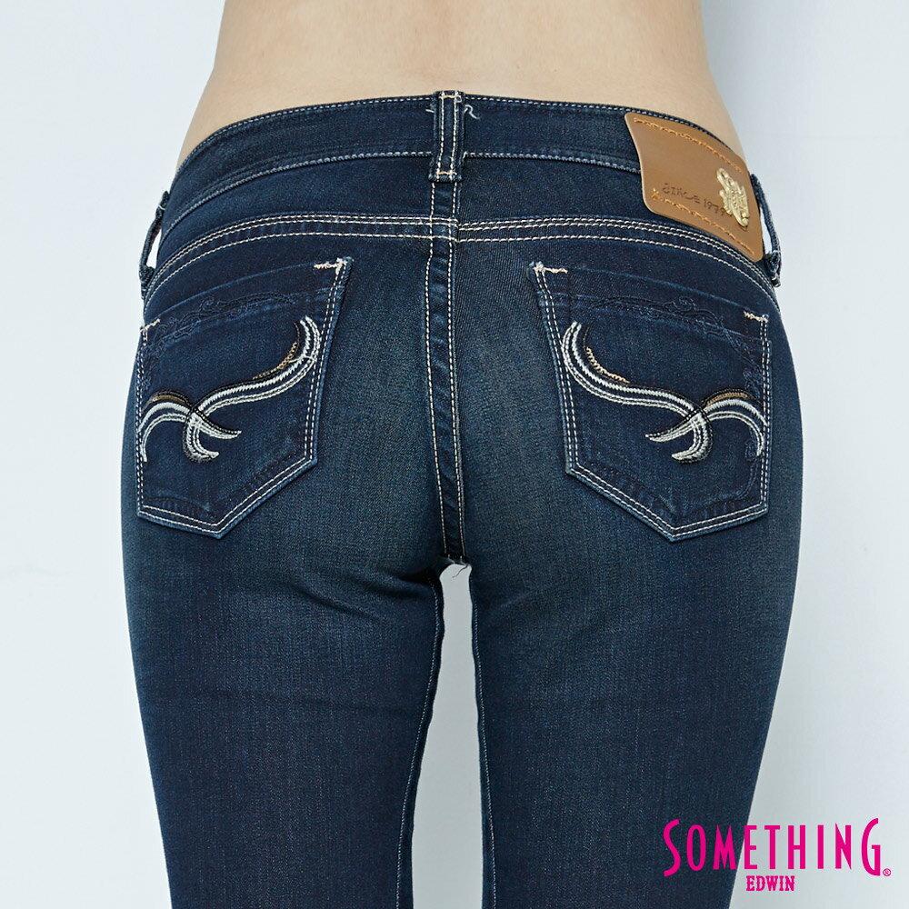 SOMETHING CELEB 亮片袋花 窄直筒牛仔褲-女款 原藍磨 SILM 6
