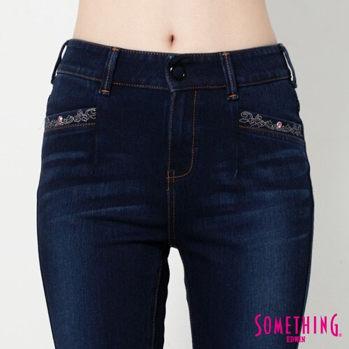 【990元優惠↘】SOMETHING MEIDUSA前袋剪接 高腰牛仔褲 -女款 原磨藍 3