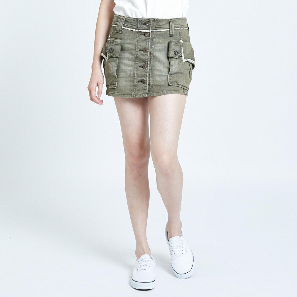 SOMETHING MEIDUSA 不規則口袋短裙-女款 橄欖綠 SKIRTS 1