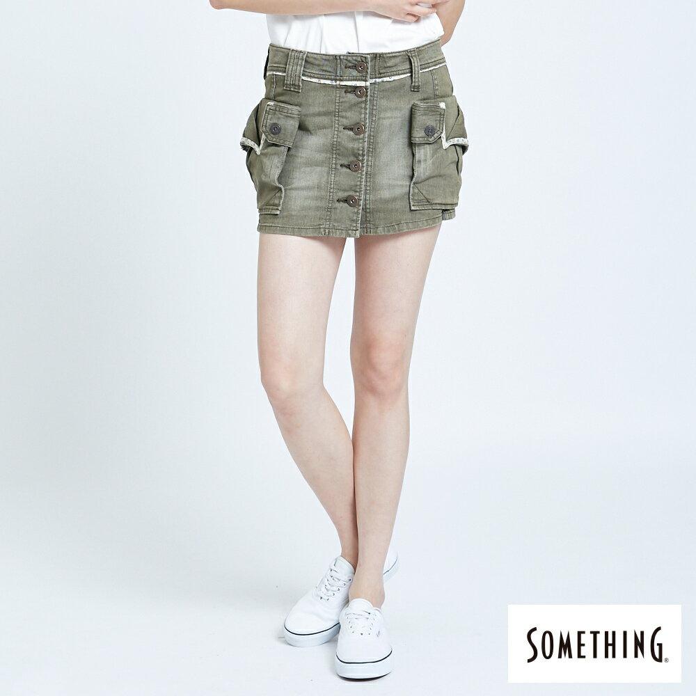 SOMETHING MEIDUSA 不規則口袋短裙-女款 橄欖綠 SKIRTS 0