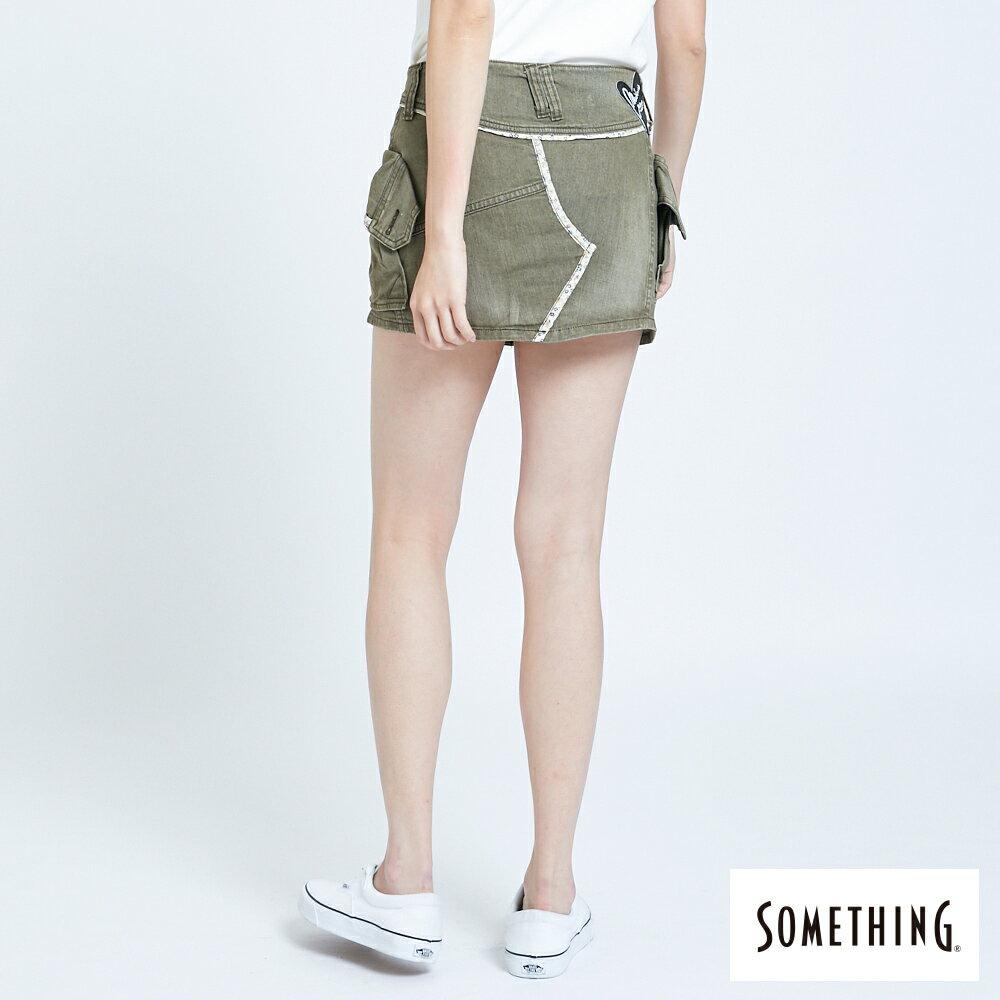 SOMETHING MEIDUSA 不規則口袋短裙-女款 橄欖綠 SKIRTS 2