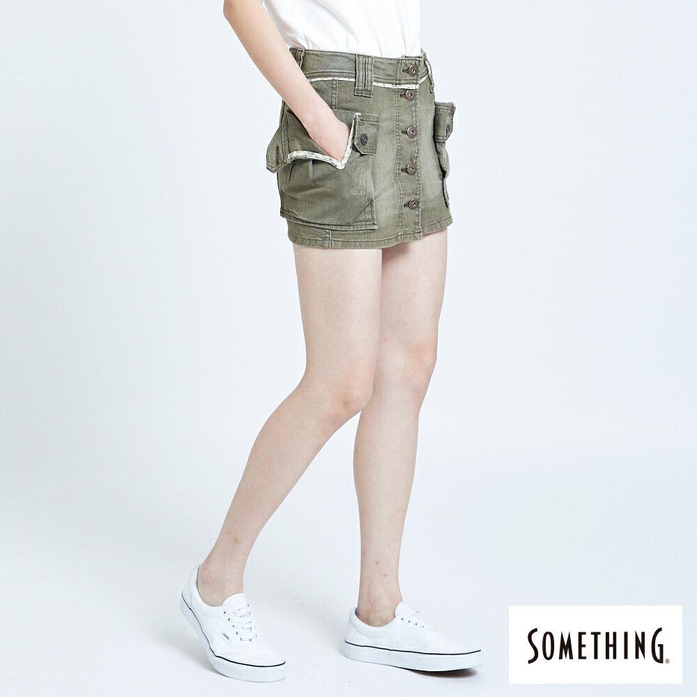 SOMETHING MEIDUSA 不規則口袋短裙-女款 橄欖綠 SKIRTS 3