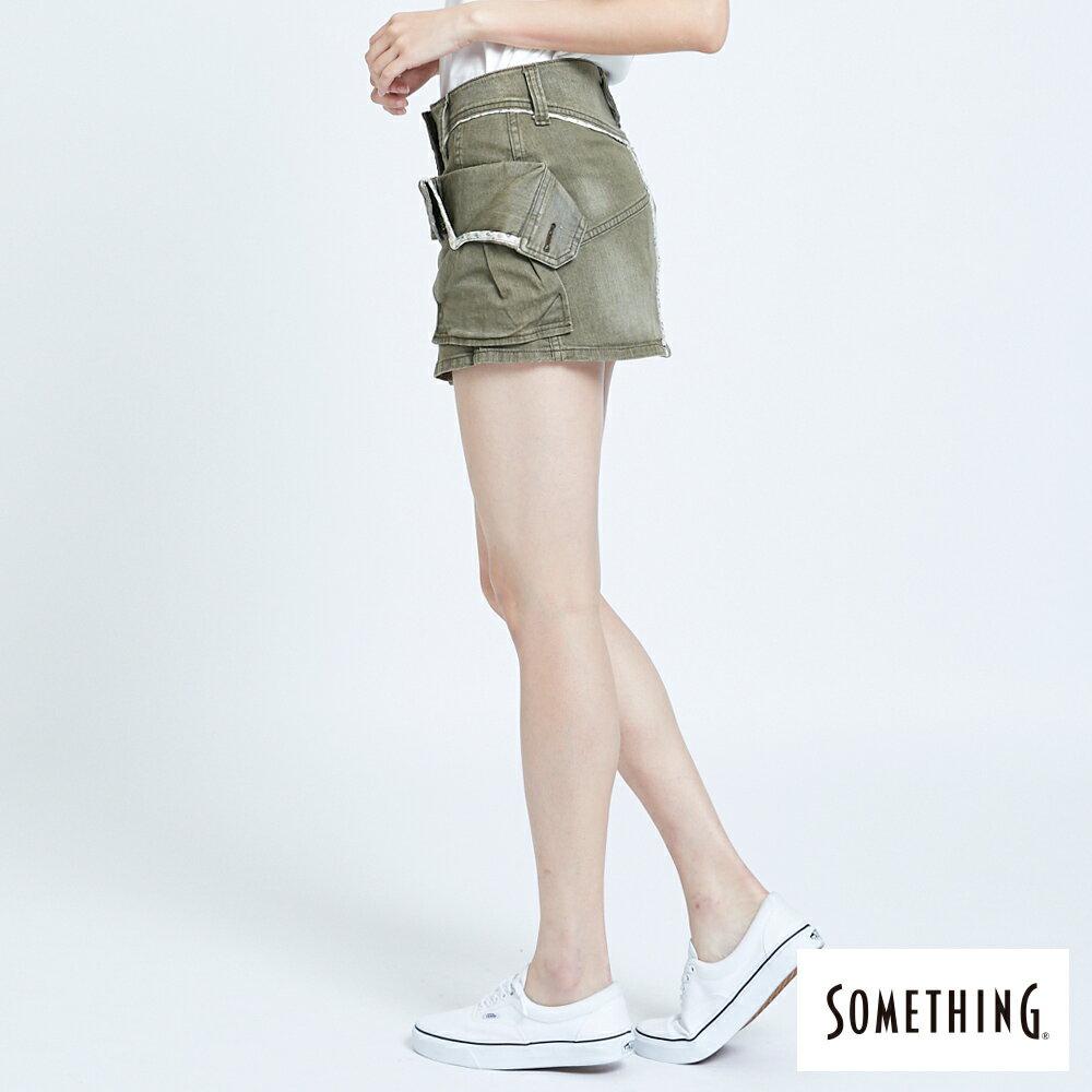 SOMETHING MEIDUSA 不規則口袋短裙-女款 橄欖綠 SKIRTS 4