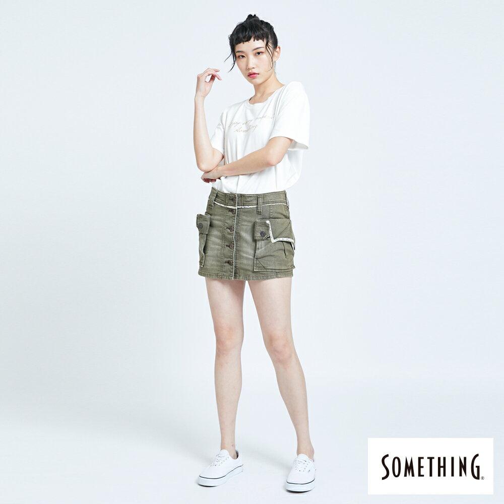 SOMETHING MEIDUSA 不規則口袋短裙-女款 橄欖綠 SKIRTS 5