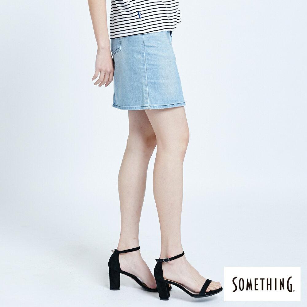 SOMETHING NEO FIT 腰頭繡花刷色 牛仔短裙-女款 拔淺藍 SKIRTS 3