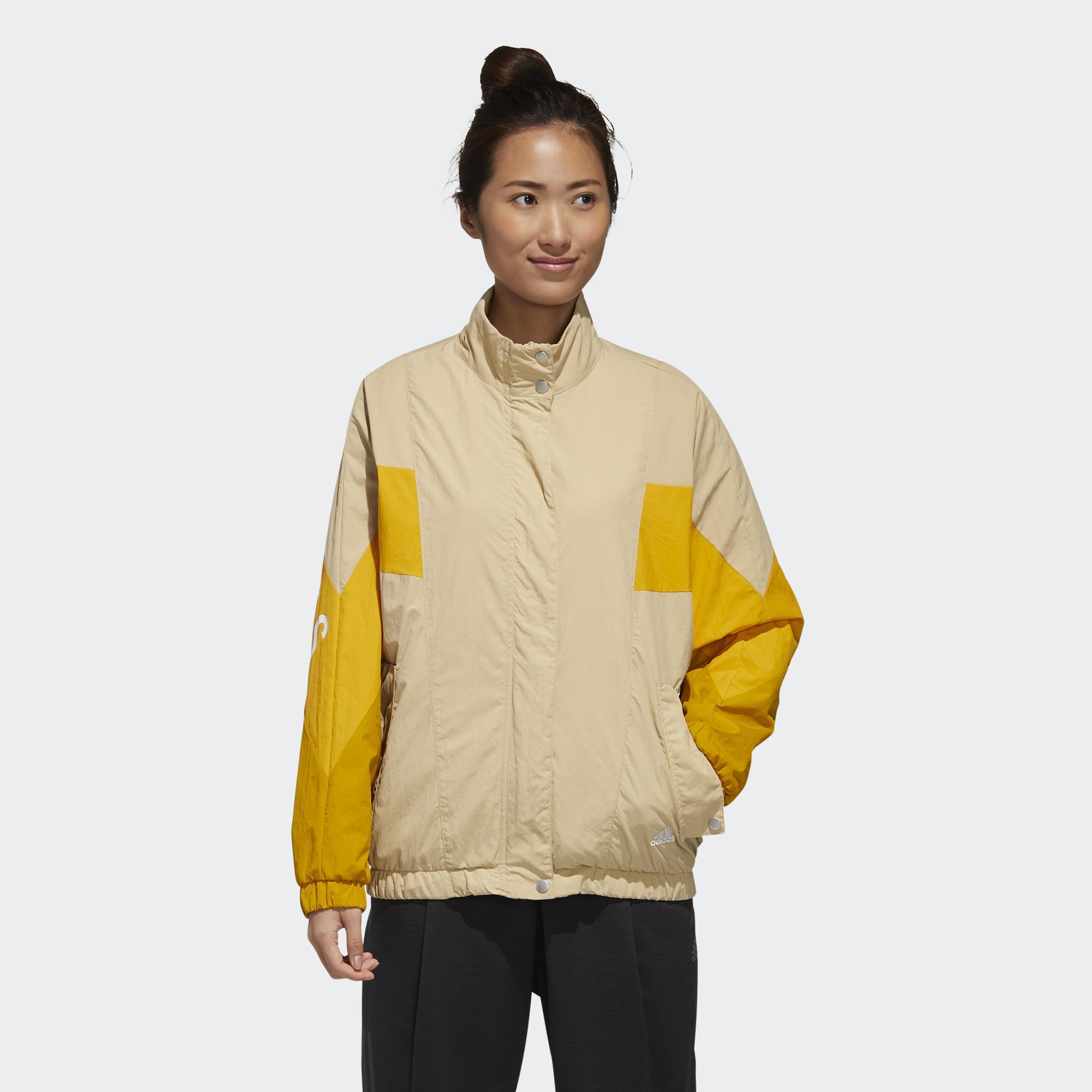 【滿額最高折318】Adidas W MHS WORDING 女裝 外套 風衣 休閒 按扣口袋 羅紋袖口 色塊 卡 黃【運動世界】GF6964