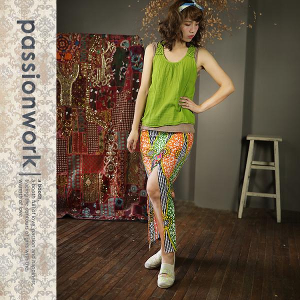 美passionwork:《美passionwork》開叉長裙☆綠菱格