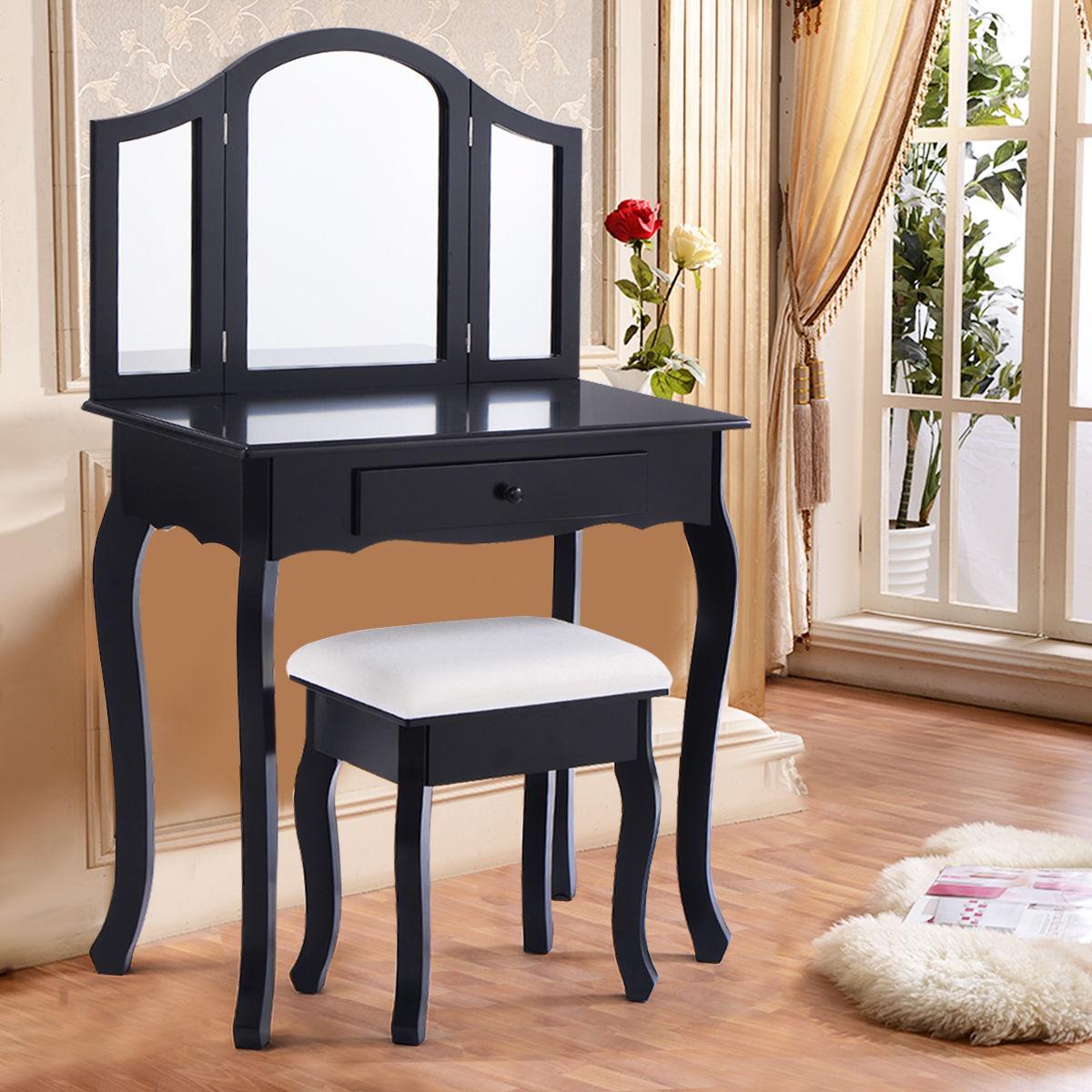 Costway Wooden Vanity Makeup Dressing Table Stool Set Bedroom White
