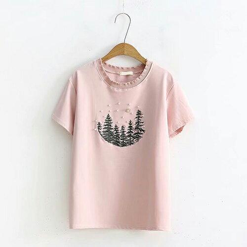 刺繡釘珠寬鬆套頭圓領短袖T恤(4色F碼)【OREAD】 3